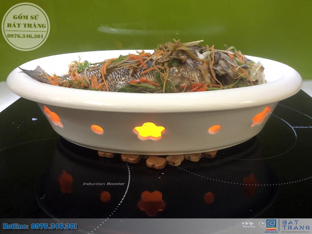 Bếp hâm đồ ăn hình bầu dục bằng gốm Bát Tràng cao cấp 4