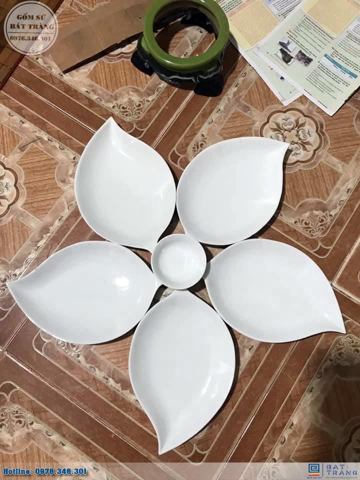 Bộ đĩa lá xoài 5 cánh men trắng cao cấp gốm sứ Bát Tràng 5