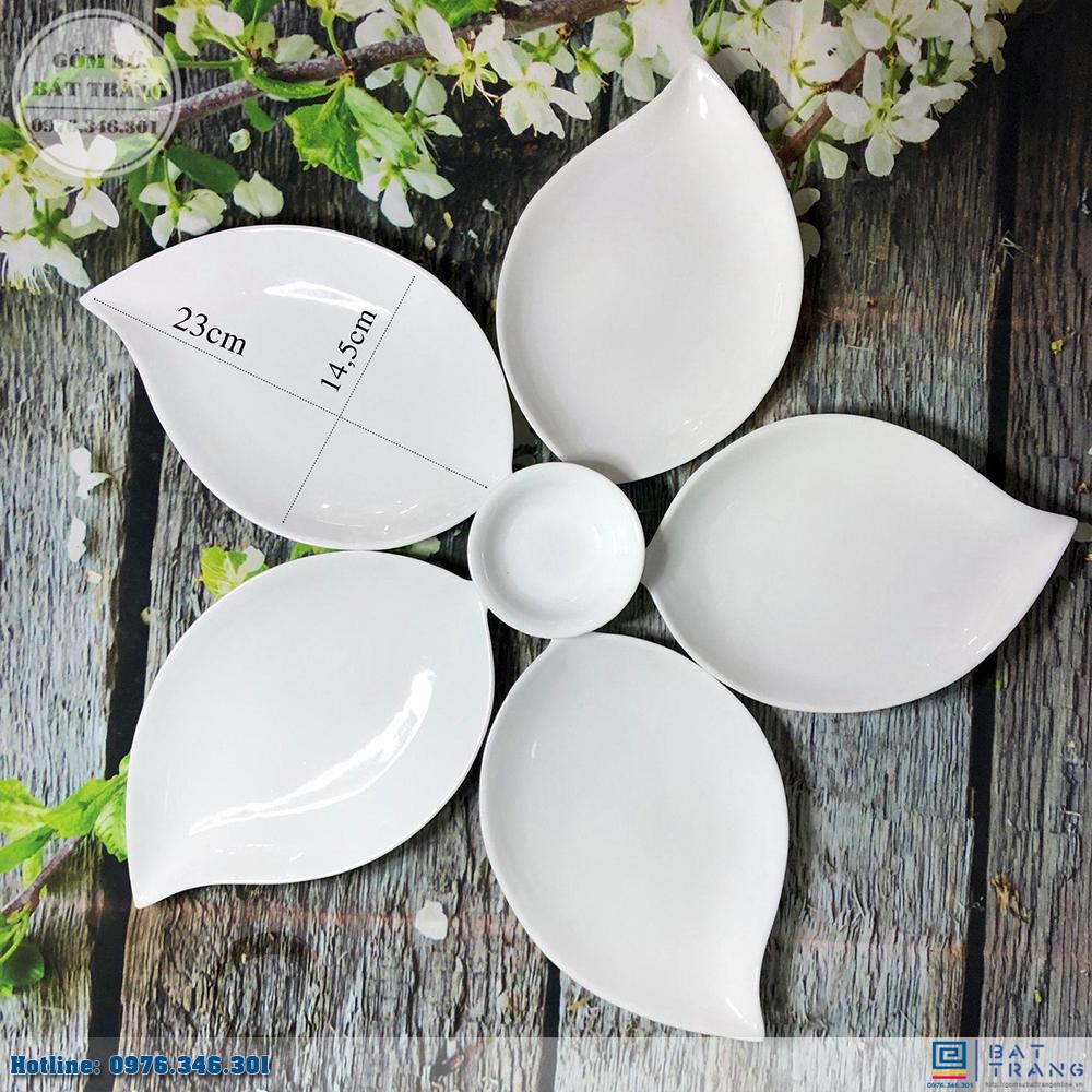 Bộ đĩa lá xoài 5 cánh men trắng cao cấp