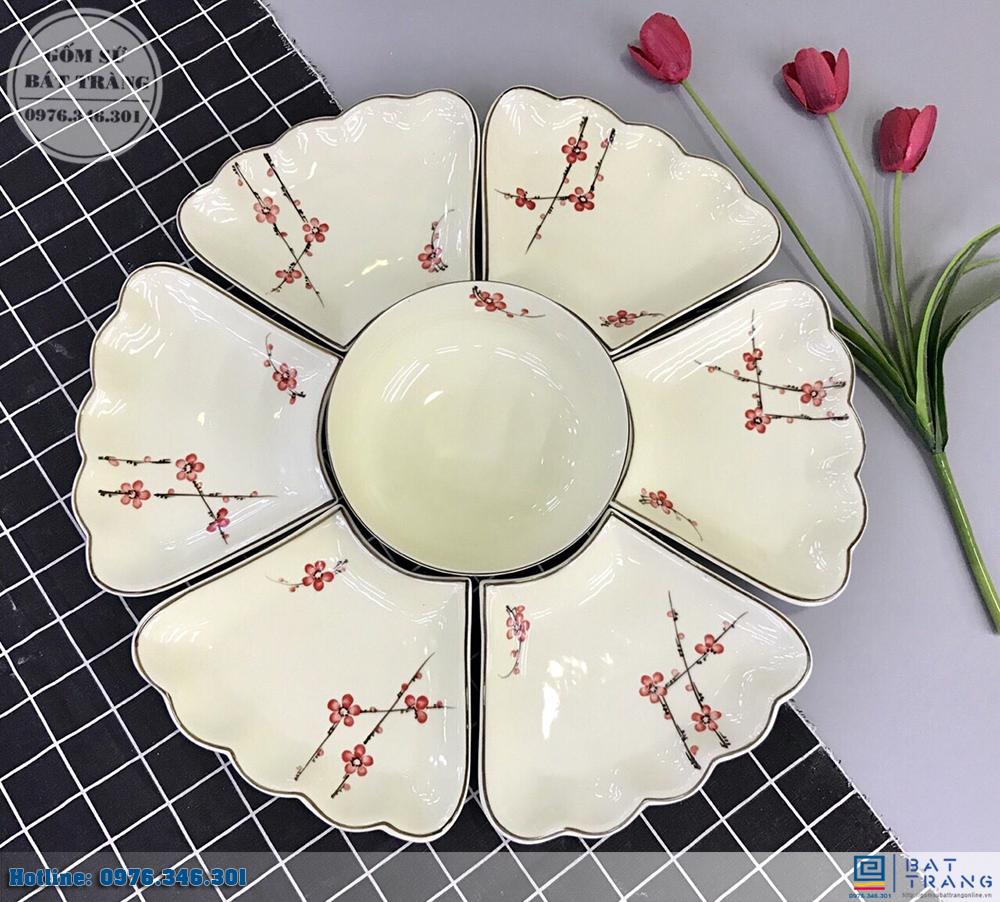 Bộ bát đĩa mâm cúng gia tiên vẽ đào hồng
