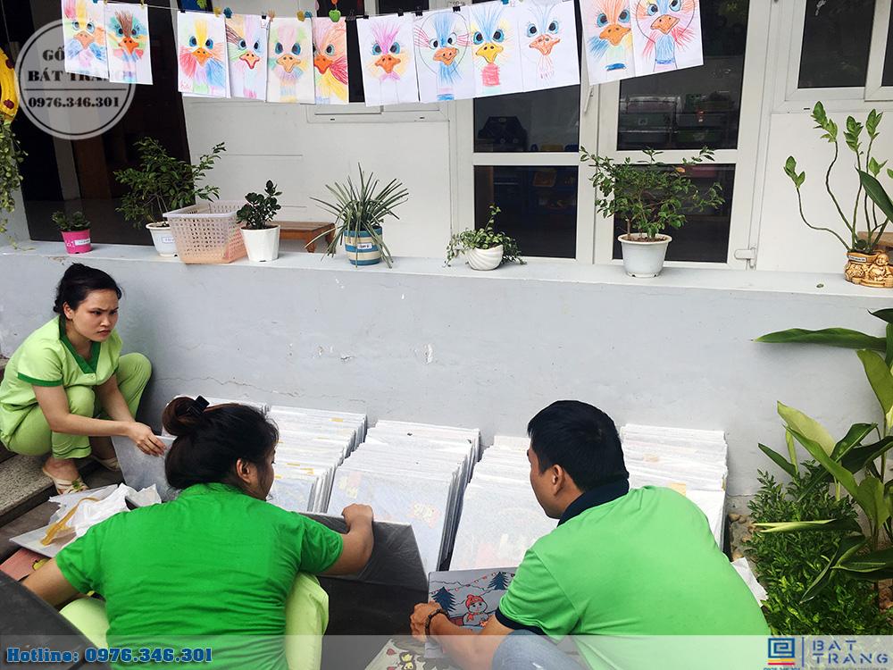 Đơn hàng 300 tranh gốm sứ Bát Tràng cho trường mầm non Thần Đồng 8